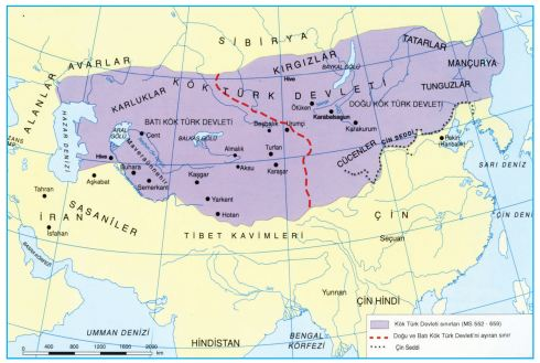 I. Kök Türk Devleti haritası