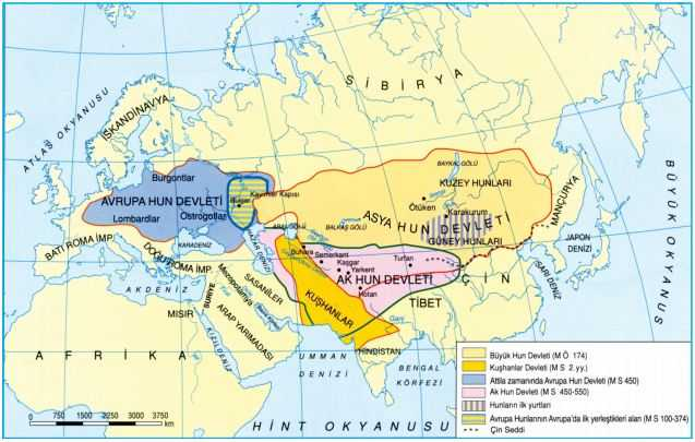 Asya Hun, Avrupa Hun ve Ak Hun Devleti Haritası