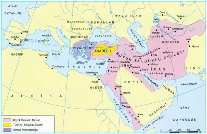 Büyük Selçuklu Devleti Haritası
