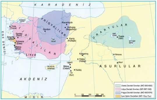 Frigya, Lidya ve Urartu Devletleri Haritası