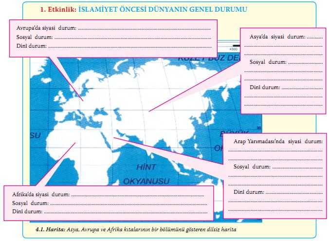Asya, Avrupa ve Afrika kıtalarının bir bölümünü gösteren dilsiz harita
