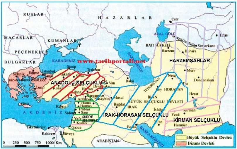 Büyük Selçuklu Devleti sonrası kurulan devletler haritası