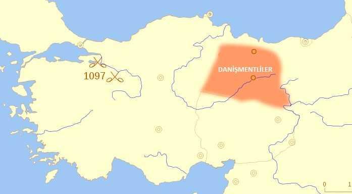Danişmentliler Haritası