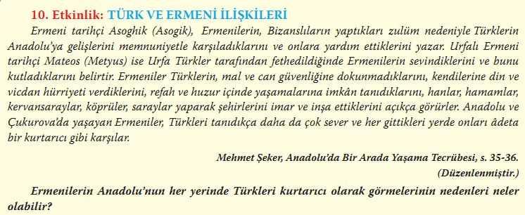 """""""Türk ve Ermeni İlişkileri"""" adlı metni okuyarak üstteki soruyu cevaplayınız."""