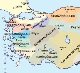Germiyanoğulları Haritası