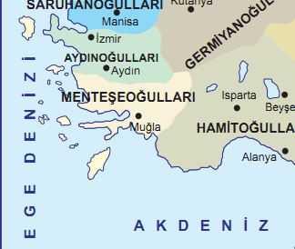 Menteşeoğulları Beyliği Haritası