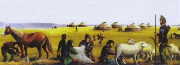 Orta Asya Türklerinin günlük yaşamını gösteren temsilî resim