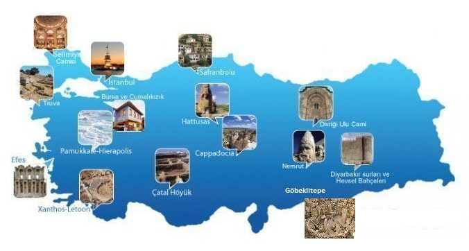 Türkiye'den UNESCO Dünya Mirası Listesine Giren Tarihi, Arkeolojik ve Coğrafi Mekanlar