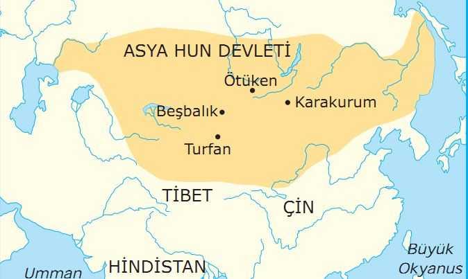 Asya Hun Devleti Haritası