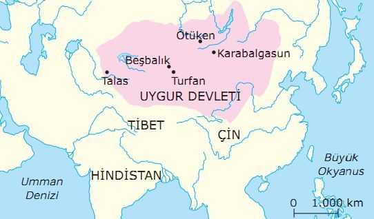 Uygur Devleti Haritası