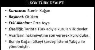 I. Kök Türk Devleti Maddeler Halinde