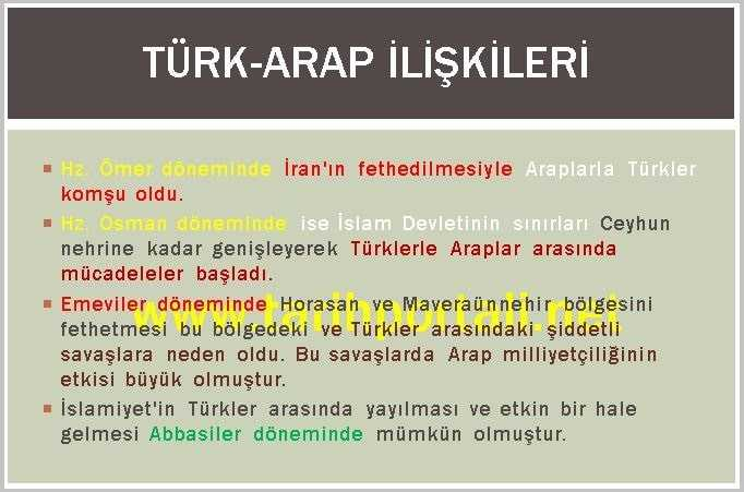 9. Sınıf Tarih İlk Türk Arap İlişkileri Özeti