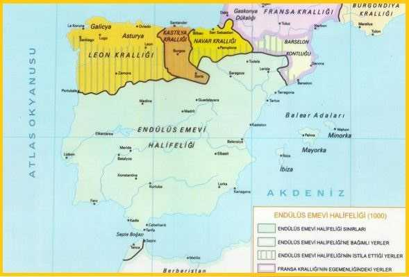 Endülüs Emevi Devleti, Leon, Kastilya, Navar Krallığı Haritası