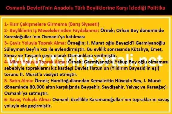 Osmanlı Devleti'nin Anadolu Türk Beyliklerine Karşı İzlediği Politika