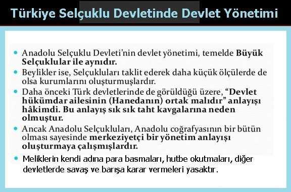 Türkiye Selçuklu Devletinde Devlet Yönetimi