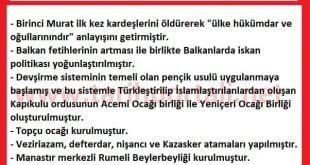 I. Murat Dönemi Önemli Olayları Maddeler Halinde