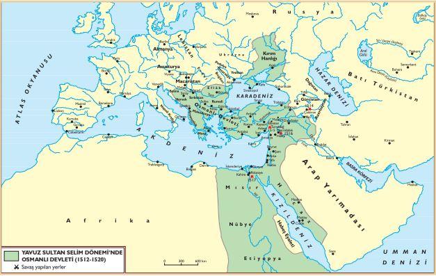 Yavuz Dönemi Osmanlı Sınırları Haritası (İslam Dünyası Liderliğine)