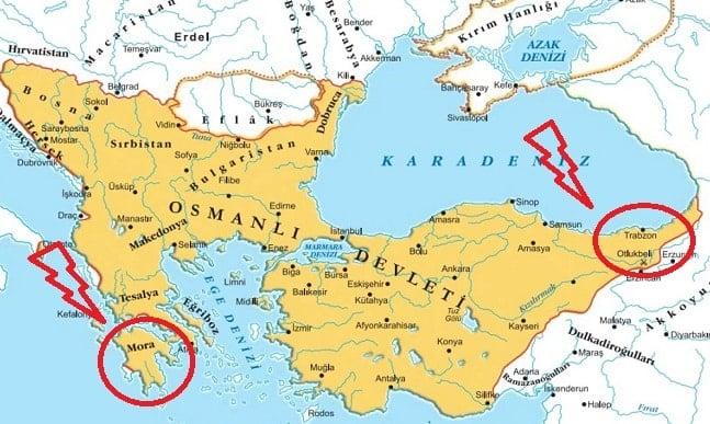 Bizans'ın dirilmesini engellemek için alınan yerler