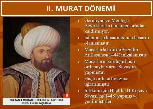 2. Murat Dönemi Maddeler Halinde