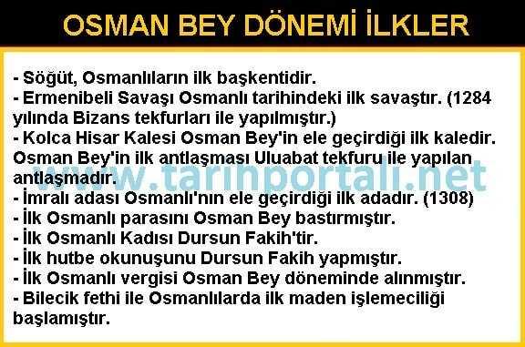 Osman Bey Dönemi İle İlgili Önemli Bilgiler