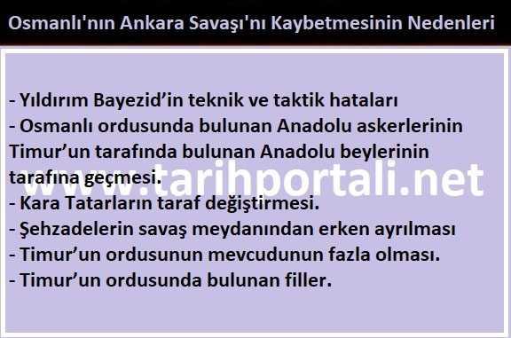 Ankara Savaşı'nda Osmanlı neden yenildi?