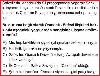 Şahkulu İsyanı ve Osmanlı-Safevi ilişkileri test sorusu