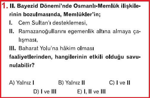 2. Bayezid Dönemi Osmanlı Memluk İlişkileri Test Sorusu