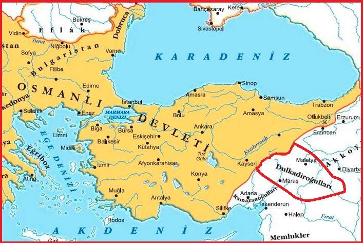 Fatih dönemi Dulkadiroğulları Beyliği Haritası