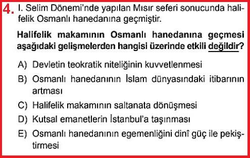 Halifeliğin Osmanlıya Geçmesi Test Sorusu