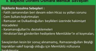 II.Bayezid Dönemi Osmanlı Memluk İlişkilerinin bozulma sebebi