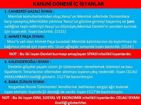 Kanuni Sultan Süleyman Dönemi İsyanları Kanuni Devri İç İsyanları Hangileridir?