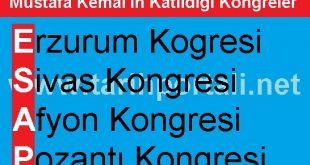 Mustafa Kemal'in Katıldığı Kongreler sırasıyla şifreleme