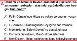 Osmanlı Melük ilişkileri test sorusu