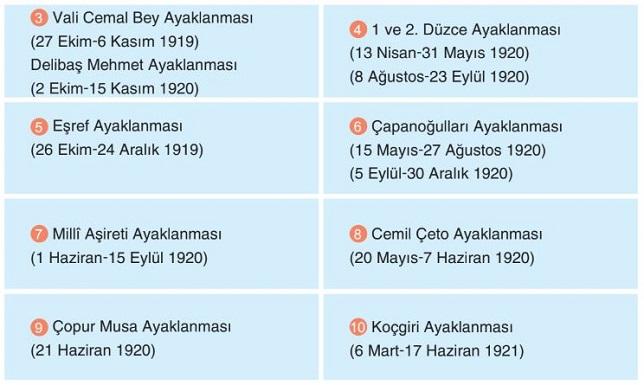 İstanbul Hükümeti ve İtilaf Devletleri Tarafından Desteklenen İsyanlar