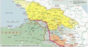 Batum Antlaşması'na göre Osmanlı, Gürcistan, Ermenistan ve Azerbaycan sınırları