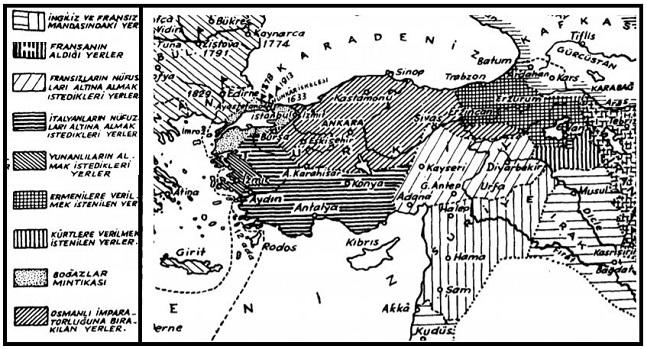 Sevr Antlaşması haritasına göre Anadolu'nun paylaşımı