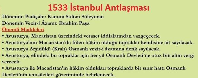 İstanbul (İbrahim Paşa) Antlaşması ve maddeleri Kanuni Dönemi Osmanlı-Avusturya İlişkileri