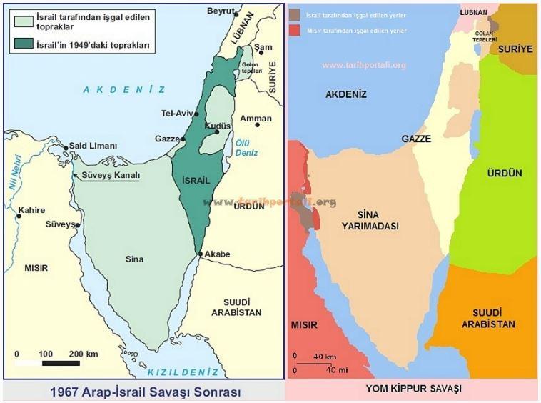 1967 ve 1973 Arap İsrail Savaşı Karşılaştırmalı Harita