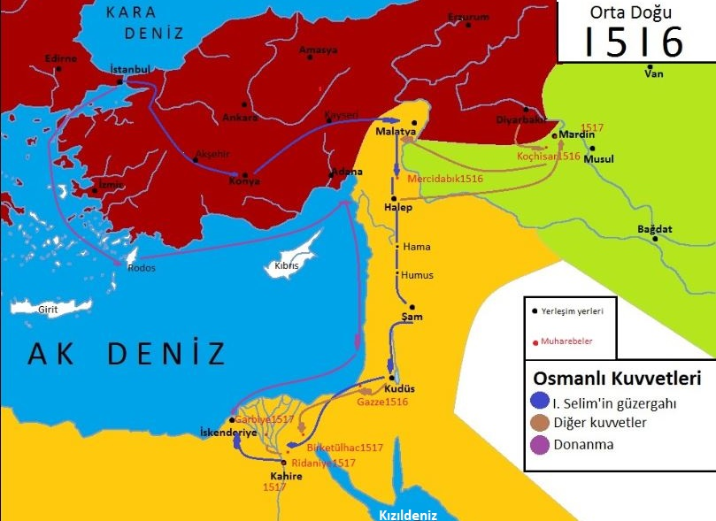 Mısır seferinde Osmanlı ordusunun güzergahı