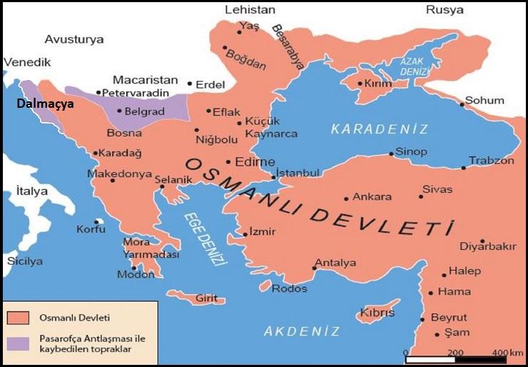 Pasarofça Antlaşması Sonrası Osmanlı Sınırları