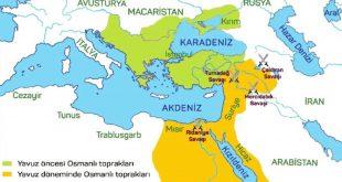 Yavuz ultan Selim'in Mısır Seferi sonrsı Osmanlı sınırları haritası