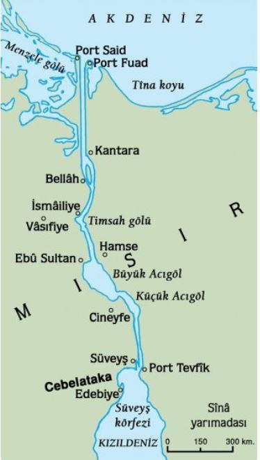 Süveyş Kanalı Güzergahı