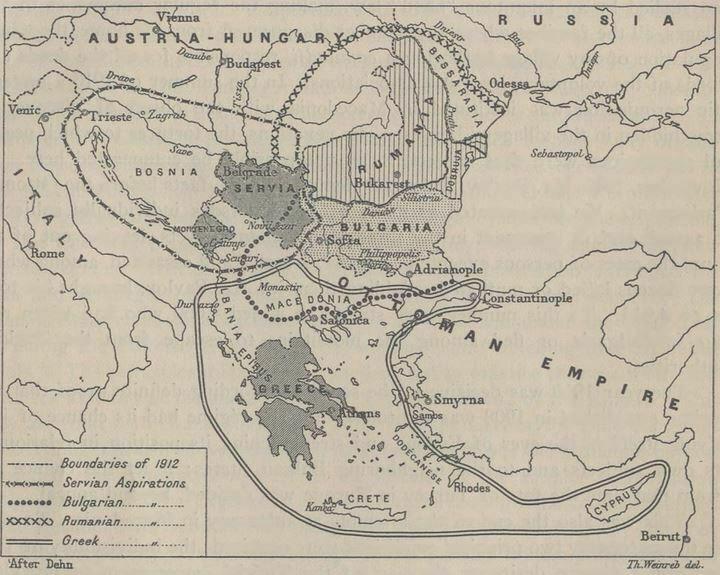 1. Balkan Savaşı Öncesi Balkan Devletlerinin hayalini kurdukları sınırlar