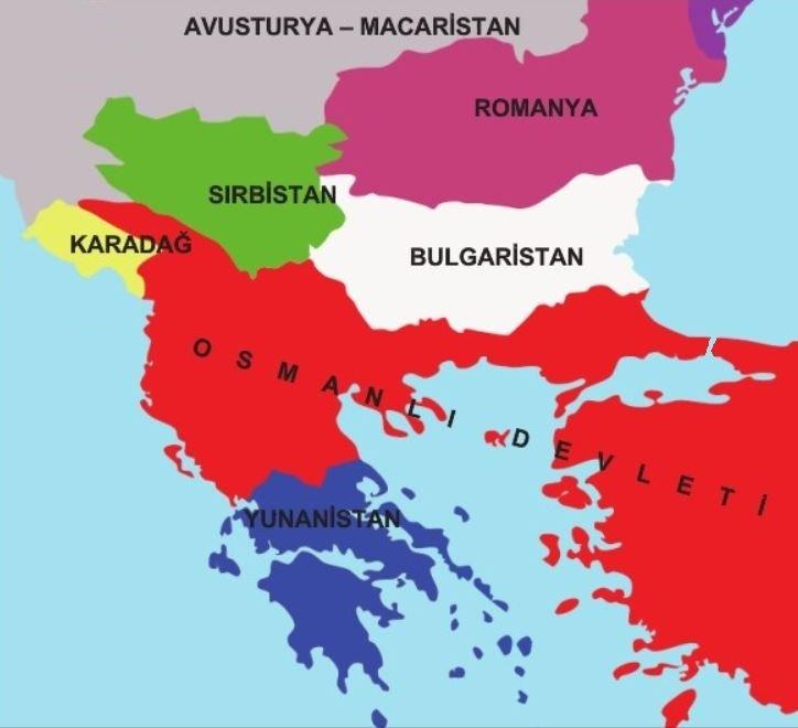 1. Balkan Savaşı Öncesi Osmanlı'nın sınırları