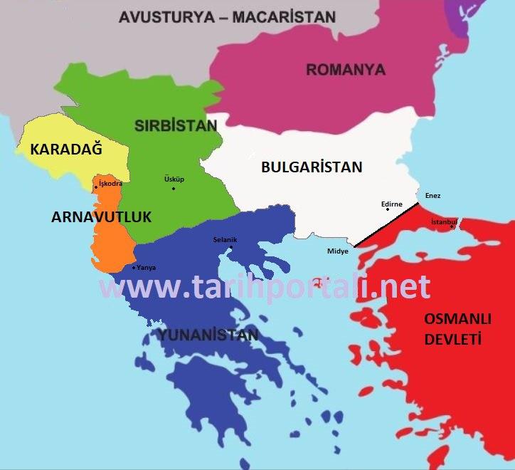 1. Balkan Savaşı sonucunda imzalanan Londra Antlaşmasına göre Osmanlı ve Balkan Devletleri haritası.
