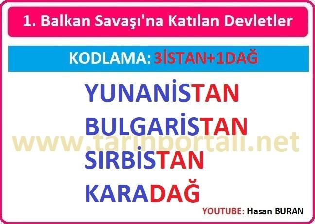 1. Balkan Savaşında Osmanlı'ya saldıran Balkan devletleri hangileridir?